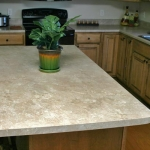 Travertine laminate kitchen island