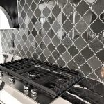Black and Gray Arabesque Tile Backsplash