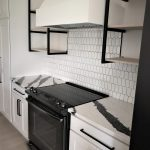 White Ceramic Picket Fence Tile Backsplash